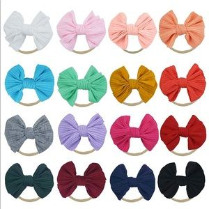 Set of 16 Baby Toddler Bow Headbands Soft Elastic
